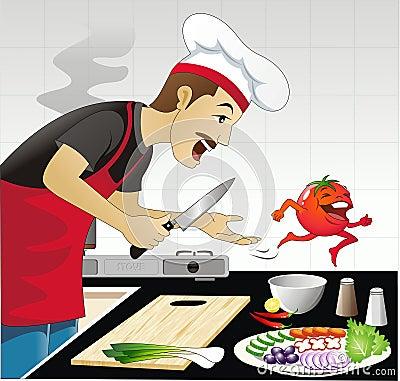 Grappige keukenscène