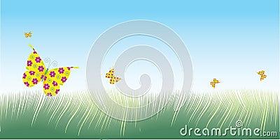 Grass & butterflies vector