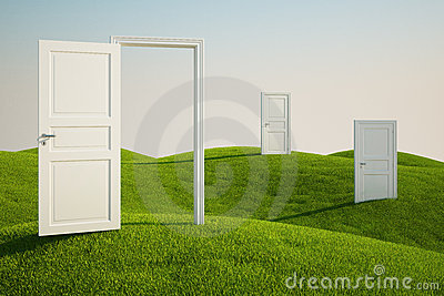 Grass field with doors