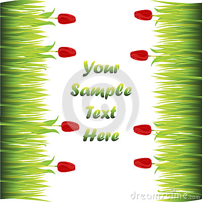 Grass with flowers Vector Illustration