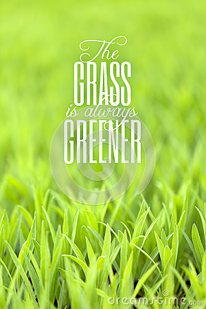 Free Grass Is Always Greener Quote Stock Images - 32775664