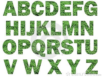 Grass lettering