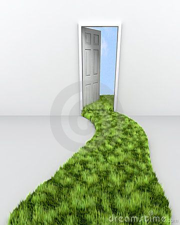 Grass path leading to doorway