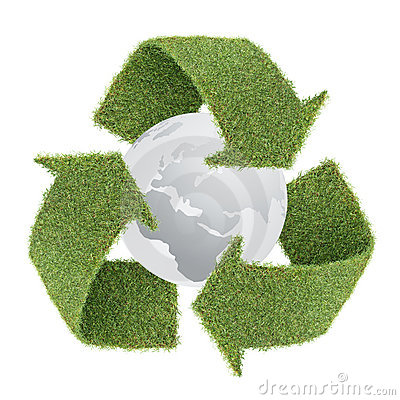 Grass recycle symbol with globe