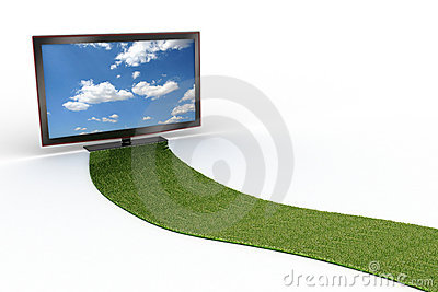 Grass road to a stylish black LCD TV