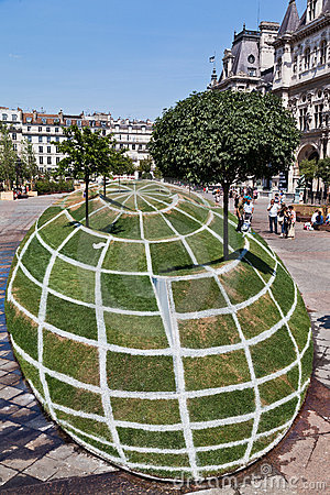 Grass Sculpture in Paris Editorial Photo