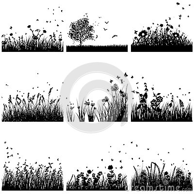 Grass silhouette set