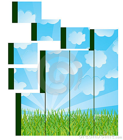 Grass and sky image on cubes