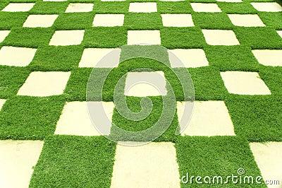 Grass tiles in garden.