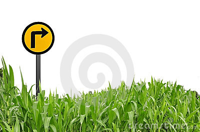 Grass and traffic logo as white background