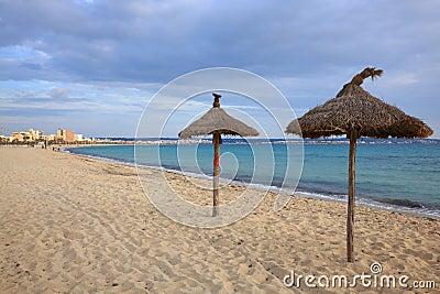 Grass Umbrellas on the Beach