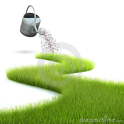 Grass and watering can