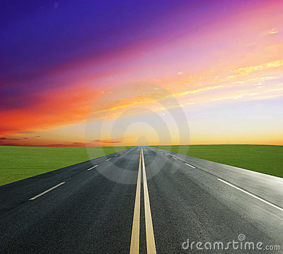 Grassland and road