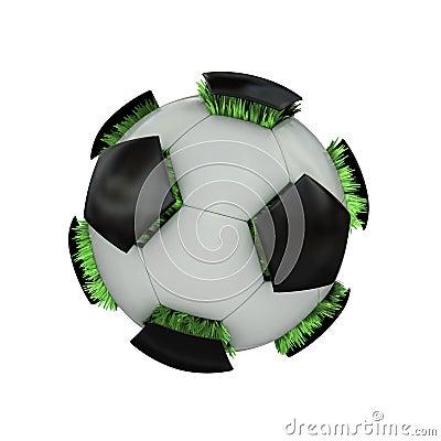 Grassy soccer ball.