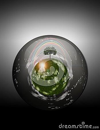 Grassy Sphere inside Glass Sphere