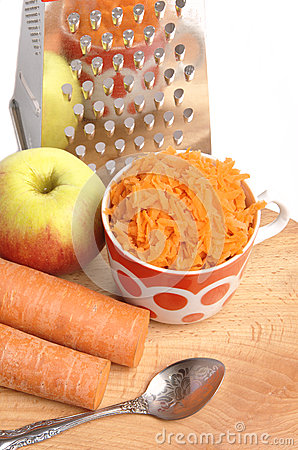 Free Grated Carrots In A Cup On A White Background Stock Images - 40134994