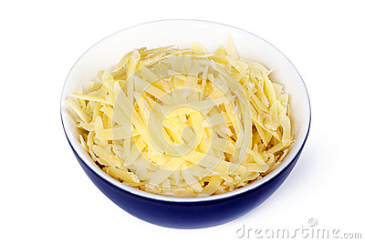 Grated Cheese in Bowl Isolated
