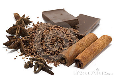Grated chocolate with spices