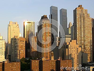 Grattacieli di Manhattan al tramonto