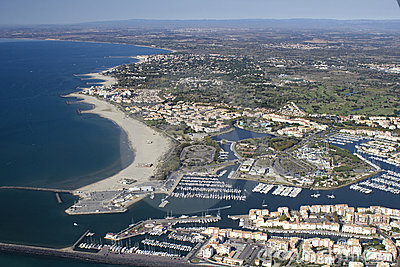 Grau d Agde - South of France. Aerial view