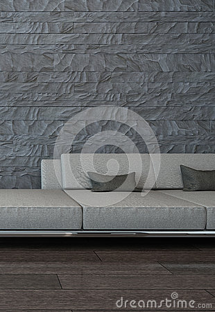 Graue couch gegen steinwand stock abbildung bild 40434416 - Graue steinwand ...