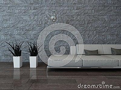Bild Der Grauen Couch Gegen Steinwand.