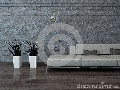 Graue Couch Gegen Steinwand Stock Abbildung - Bild: 40434442