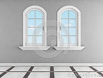 grauer raum mit zwei gew lbten fenstern stock abbildung. Black Bedroom Furniture Sets. Home Design Ideas
