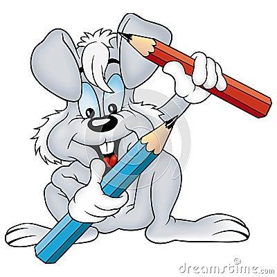 Graues Kaninchen und Zeichenstifte