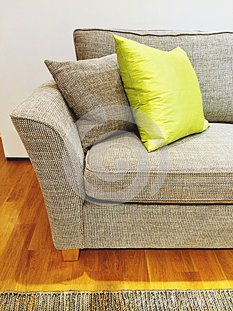 graues sofa mit kissen im wohnzimmer stockfoto bild 48996716. Black Bedroom Furniture Sets. Home Design Ideas