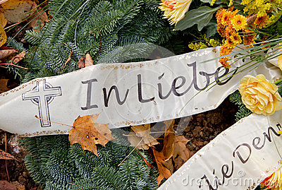 Grave decoration - bow with german words