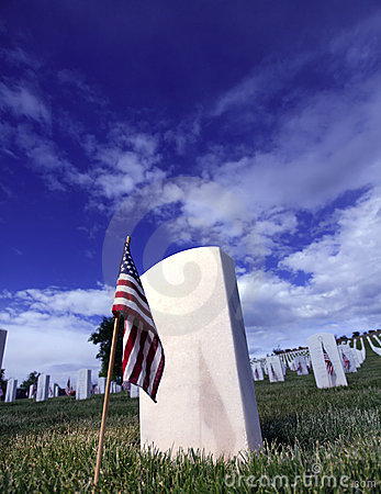 Grave Marker American Flag In A National Cemetery Stock Photography - Image: 9535052