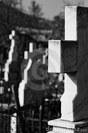 Grave markers at cemetery