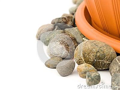 Gravel with flowerpot
