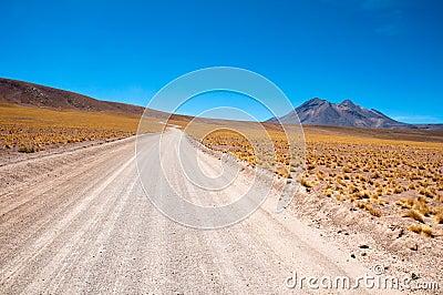 Gravel road in Atacama desert, Chile