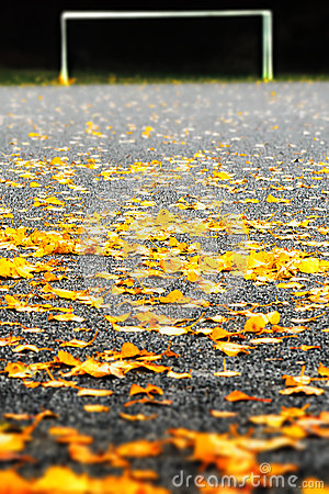Gravel soccerfield covered with autumn leaves