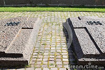 Graves of German militairy Cemetery Pordoi, Italy