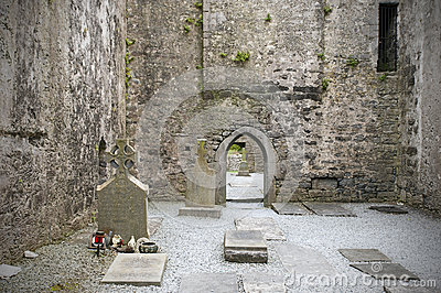 Graves in Irish abbey ruins