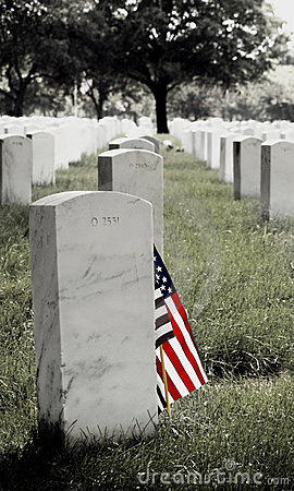 Gravestone and American Flag