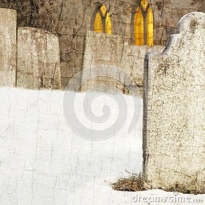 Gravestone in Church Cemetery at Night