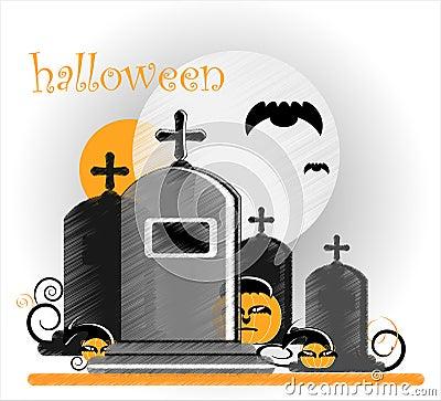 Gravestone in halloween