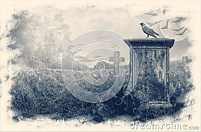 Gravestone in moonlight