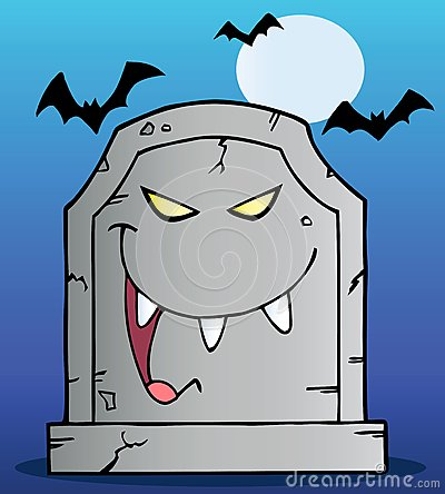 Gravestone under bats on blue