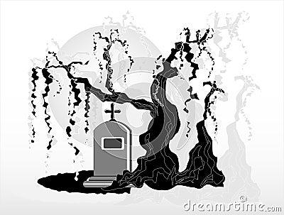 Gravestone under tree