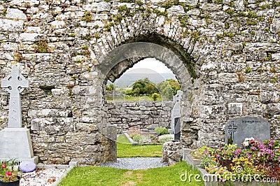 Gravestones in medieval cemetery