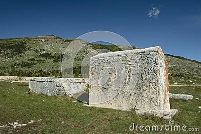 Gravestones on tableland Dugo Polje in Bosnia