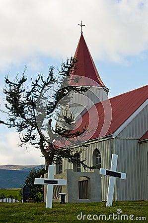 Free Graveyard Behind Typical Icelandic Church At Glaumbaer Farm Royalty Free Stock Images - 63167229