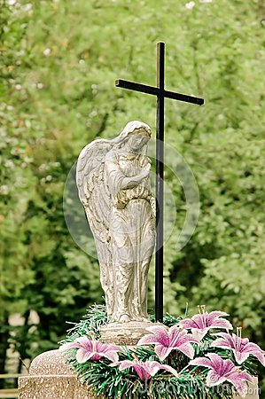 Graveyard monument: angel and cross