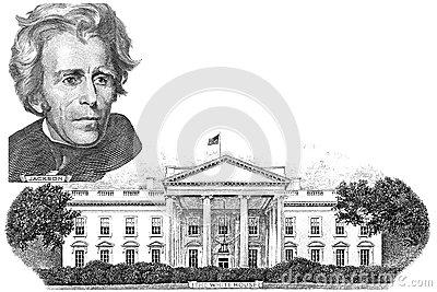 Gravure of Andrew Jackson and  White house