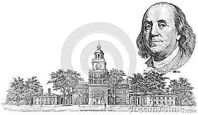 Gravure av Benjamin Franklin och självständighet Hall